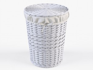 Wicker Laundry Basket 03 White Color