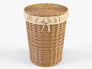 Wicker Laundry Basket 03 Natural Color