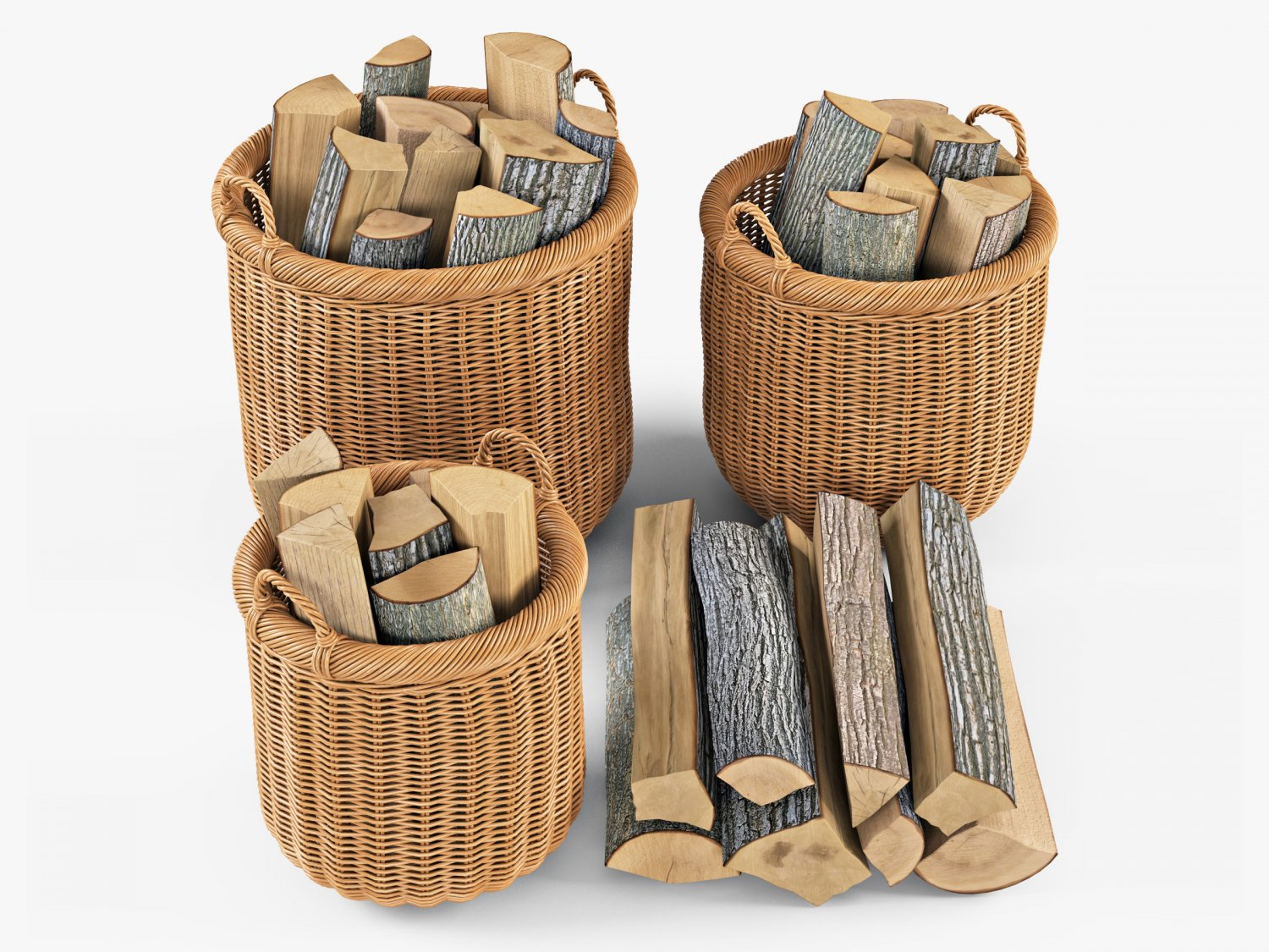 Wicker Basket 07 Toasted Oat Color With Firewood 3d Model In Household  Items 3dexport