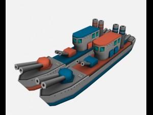 Battle ship low-poly