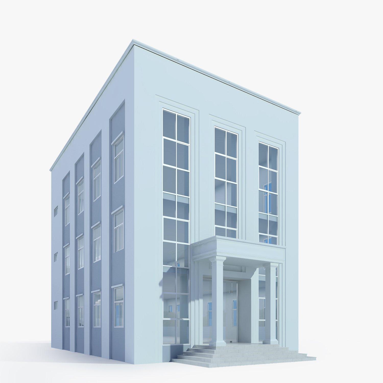 Neoclassical Small Office Building 3d Model In Buildings 3dexport
