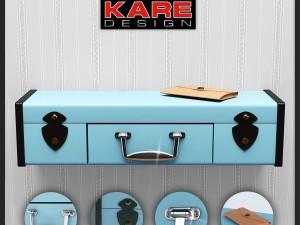 ShelfKareWall Shelf SuitcaseLight Blue1Drw