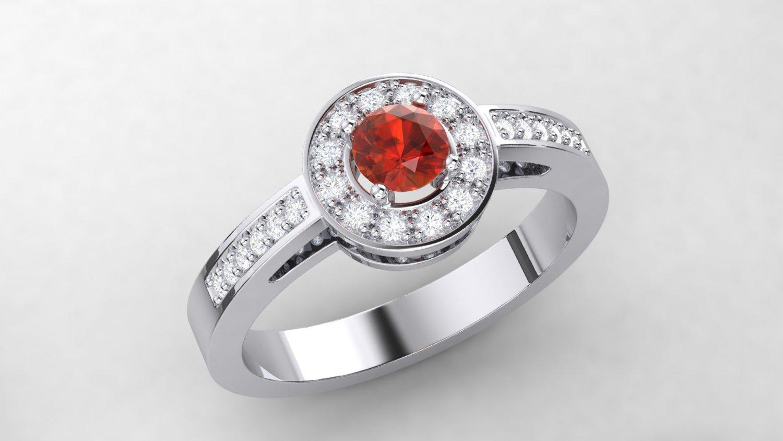 Citrine Halo Ring 3D Model in Rings 3DExport