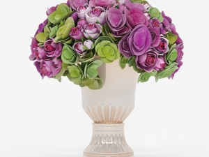 Bouquet of roses and hydrangea flowers