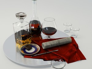 Set whiskey and cognac decanter on dish