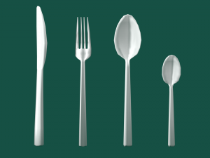 Cutlery Set Low Poly