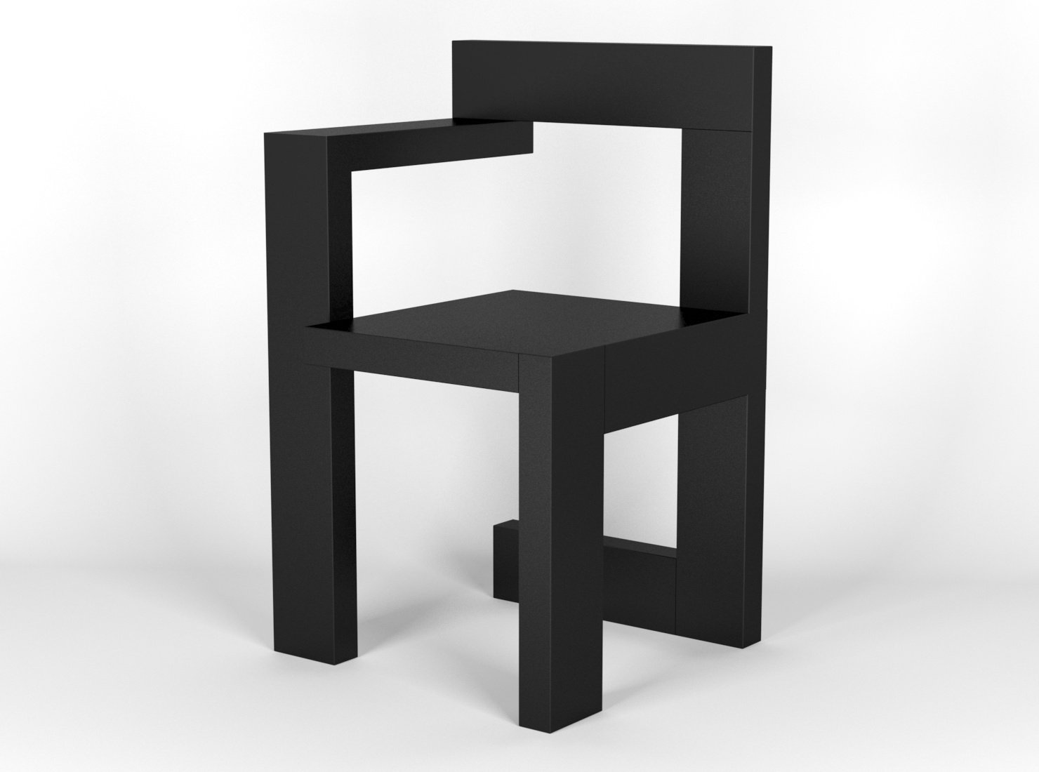 Stoel Gerrit Rietveld : Steltman chair designed by gerrit rietveld 3d model in stoel 3dexport
