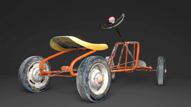 Old Pedal Go-Kart 3D Model in Cart 3DExport