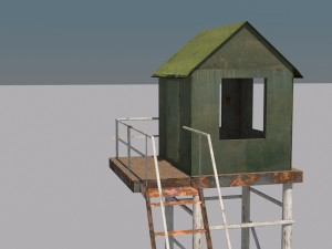 Military tower low poly game model