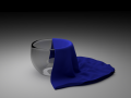 Glass cup with cotton shawl