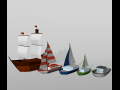 Low poly set boat