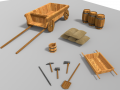 Old wagon and entrenching tools Low Poly