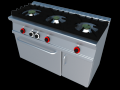 Gas cooker 3 fires with oven industrial