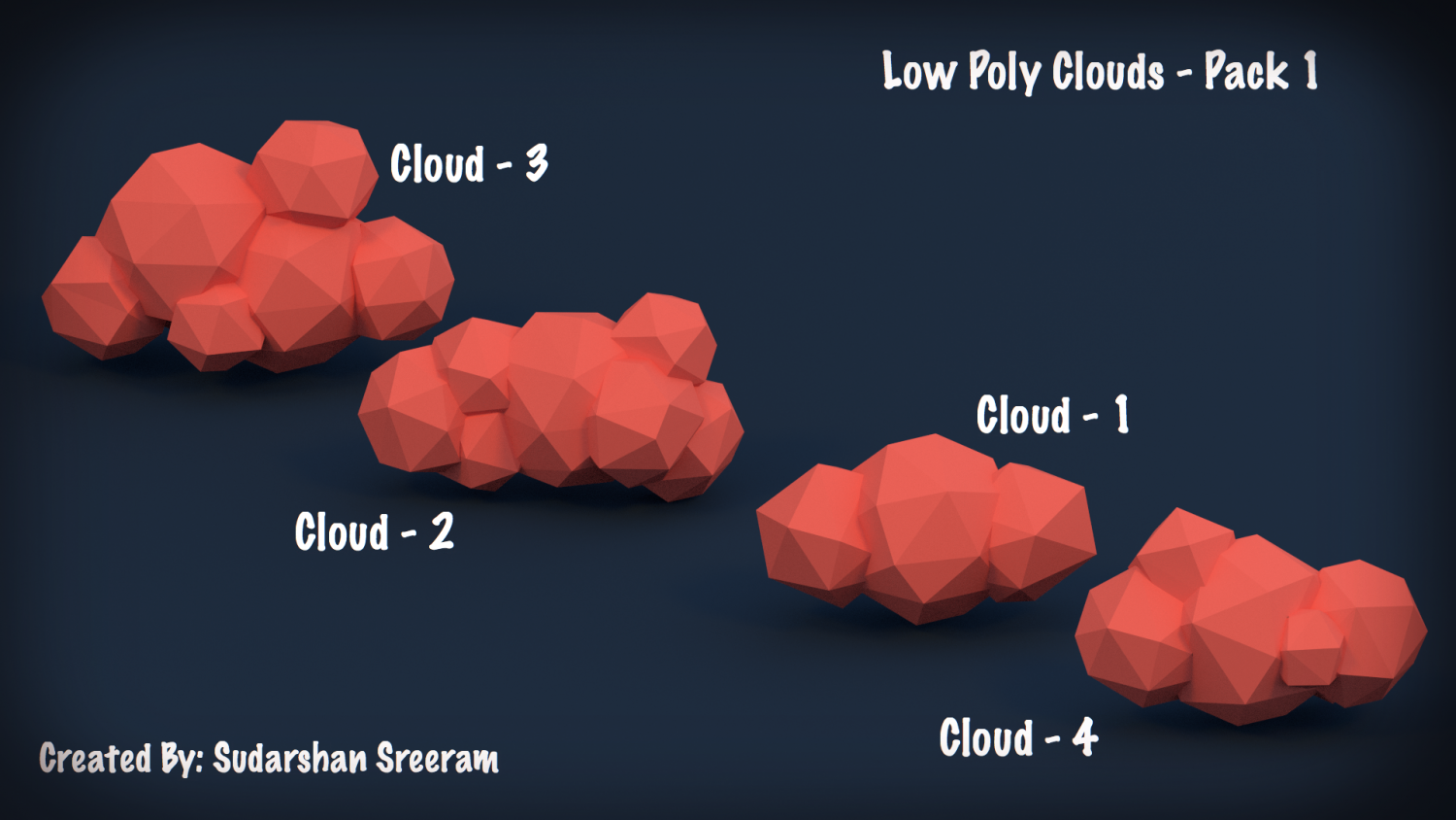 Low Poly Clouds - Pack 1 Free 3D Model in Environment 3DExport