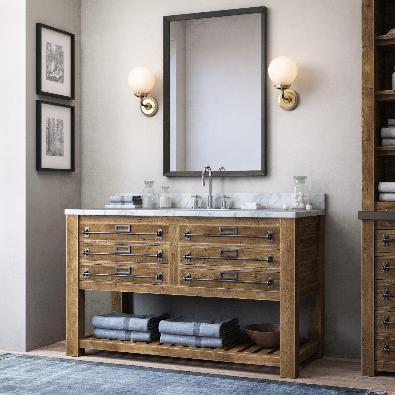 RH MERCANTILE EXTRAWIDE SINGLE VANITY SINK D Model In Bathroom - Rh bathroom