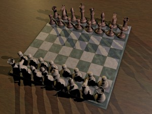 Chess Set - Wood Glass Metal