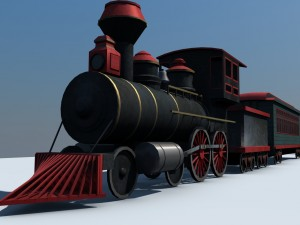 Low Poly Steam Engine Train Game Ready