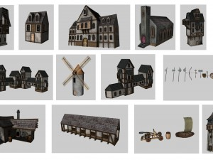 Medieval Low Poly Game Pack Buildings Weapons