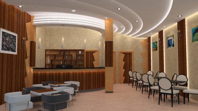 Cafe Restaurant Interior Design 3D Model