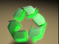 Glowing Recycle -PLASTIC with Green GLOW