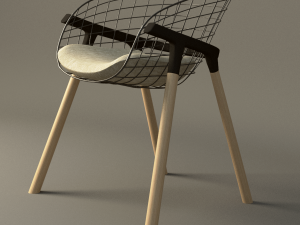 Wire and wood modern chair