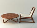 Modern wooden table and chair