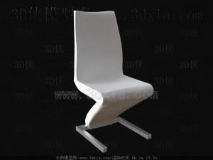 Download 3D White Bent Chair Hamid Mahmood