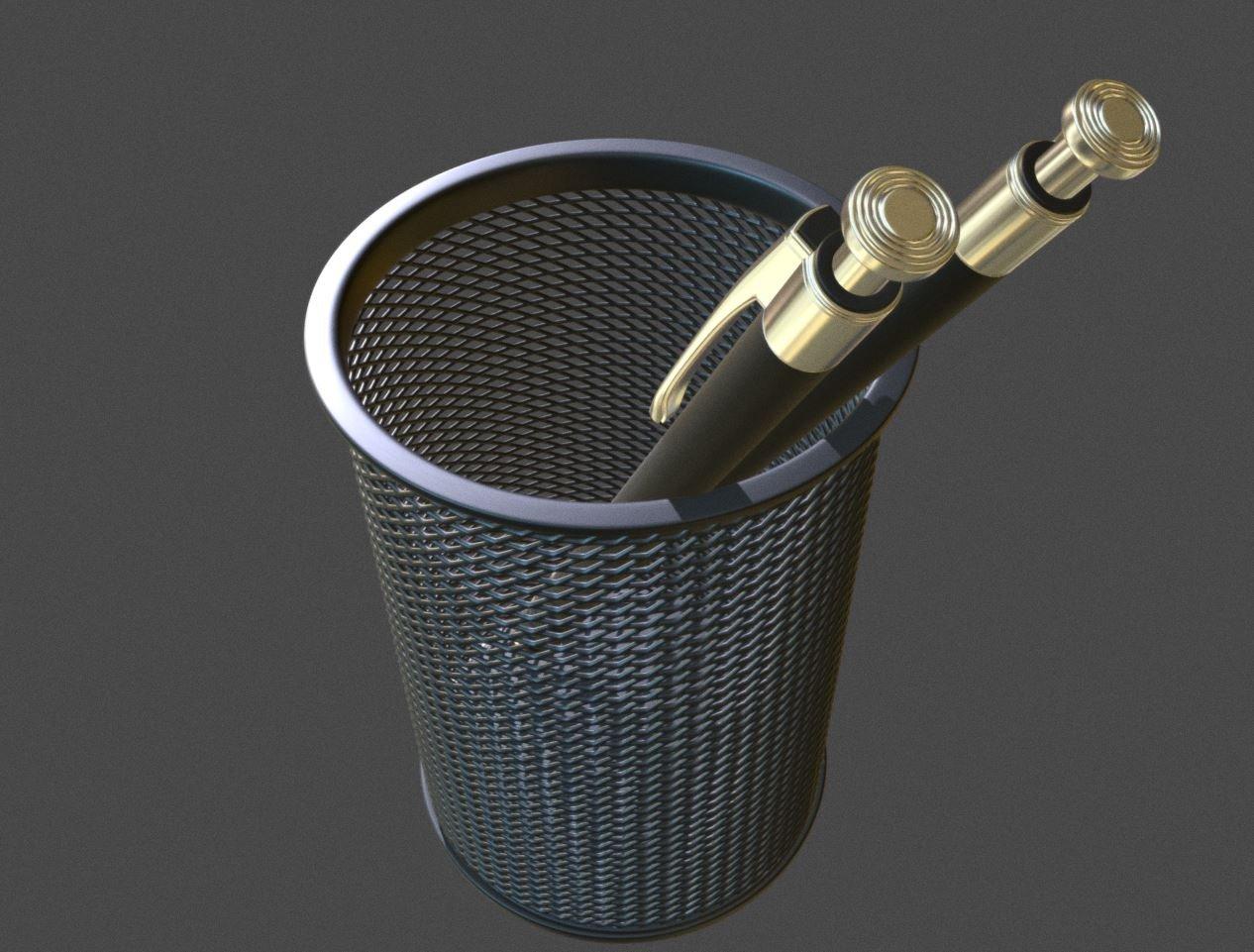 Wire Mesh Scissor Pen Pencil Holder 3D Model in Office 3DExport