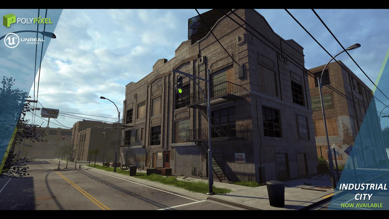 Industrial City 3D Model in Environment 3DExport