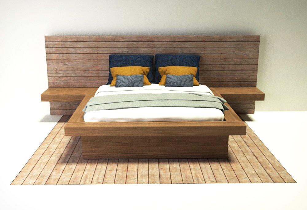 Modern bed 3d model in bedroom 3dexport