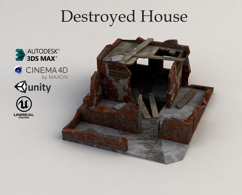 destroyed house free 3d model in buildings 3dexport - House Model 3d