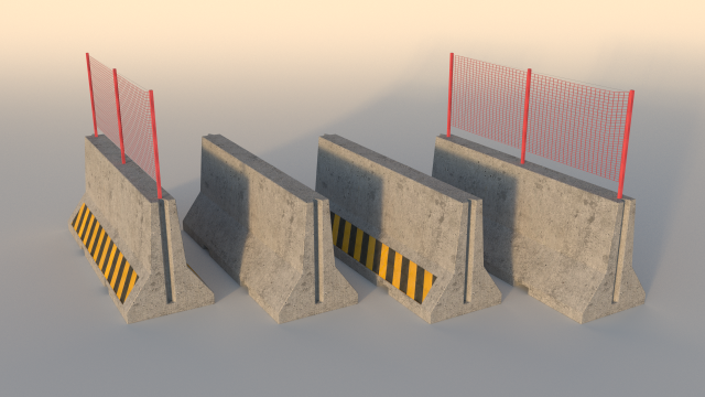 road concrete barrier step barrier 3d model in miscellaneous 3dexport