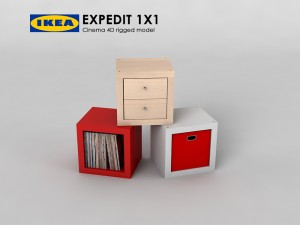 Ikea Expedit shelve 1x1 Rigged