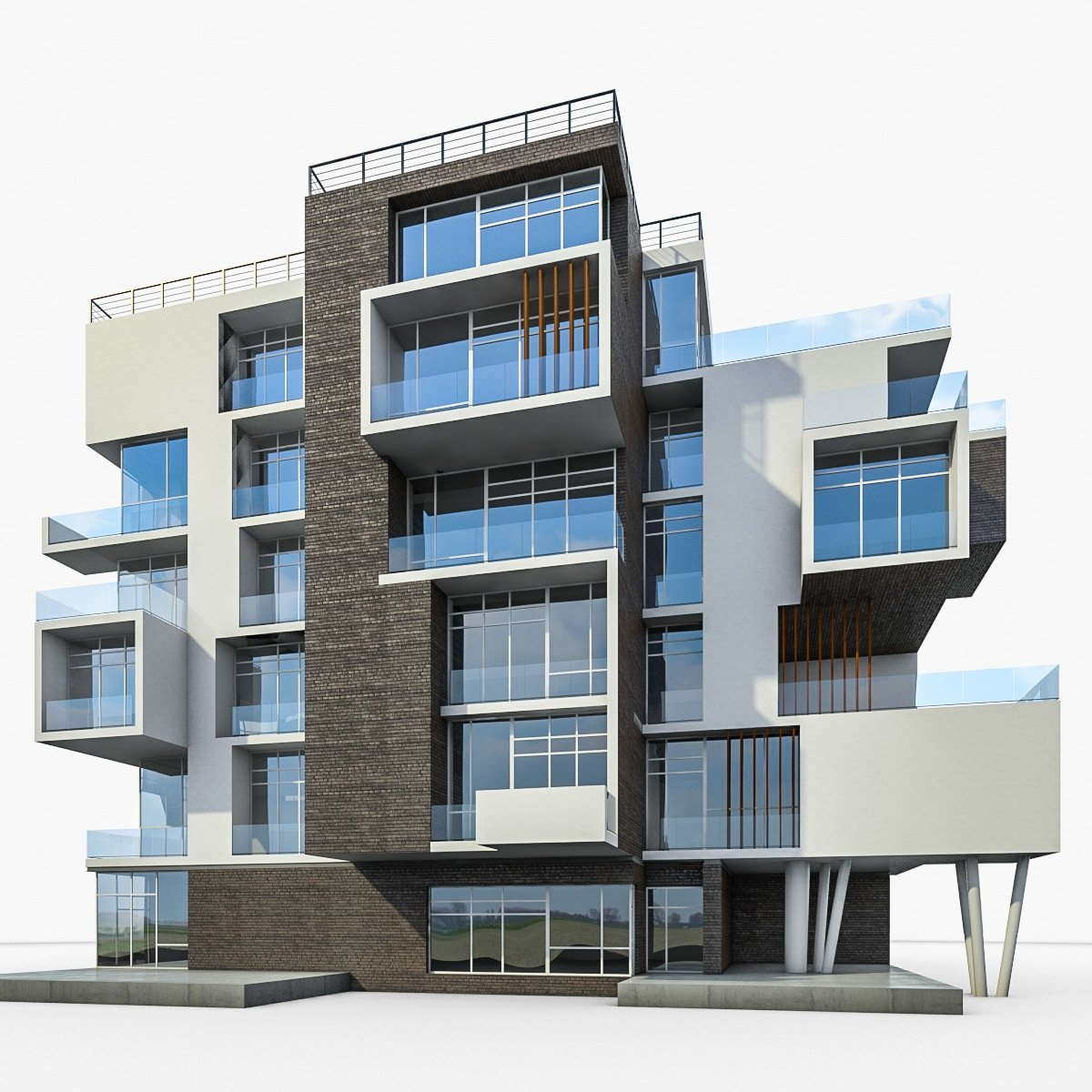 Modern Residential Building 3D Model in Buildings 3DExport