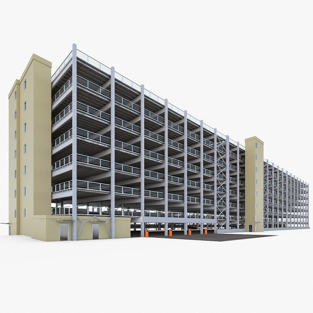 Multistory Parking Garage 3D Model in Buildings 3DExport