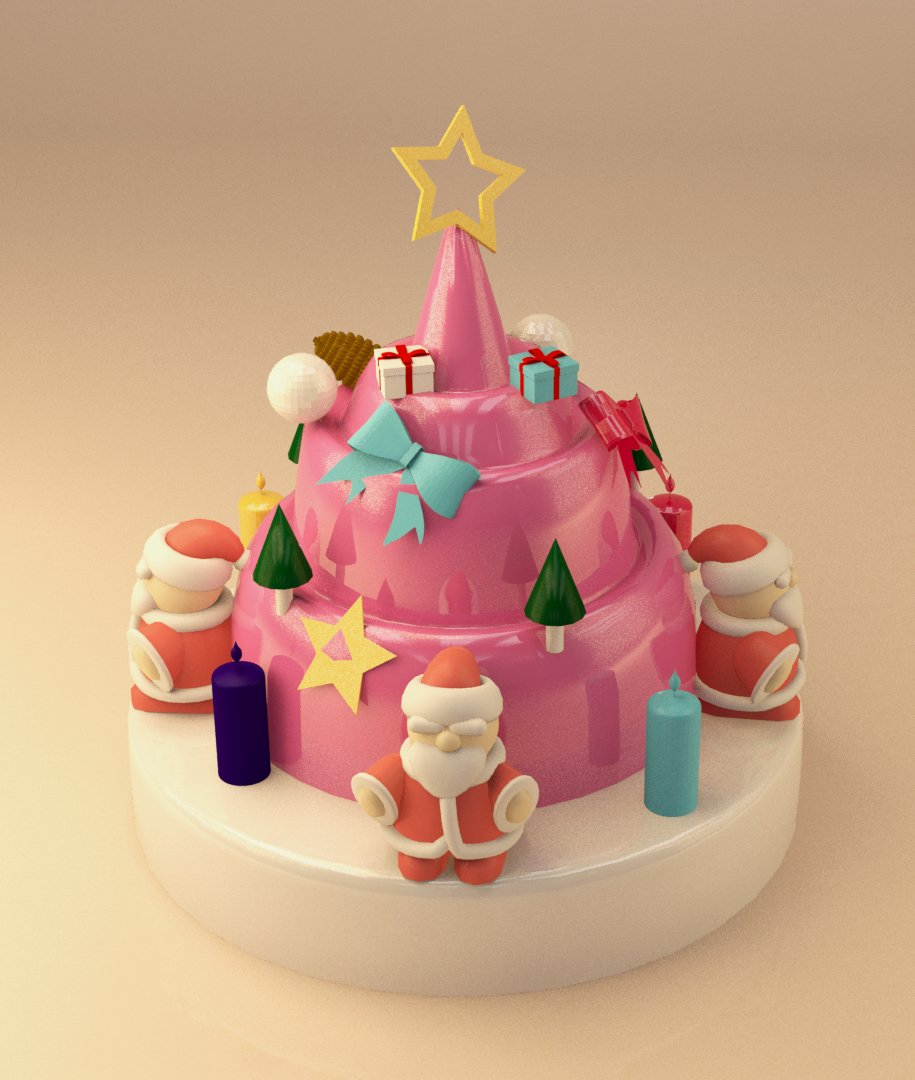Christmas Cake 3d Model In Sweets 3dexport