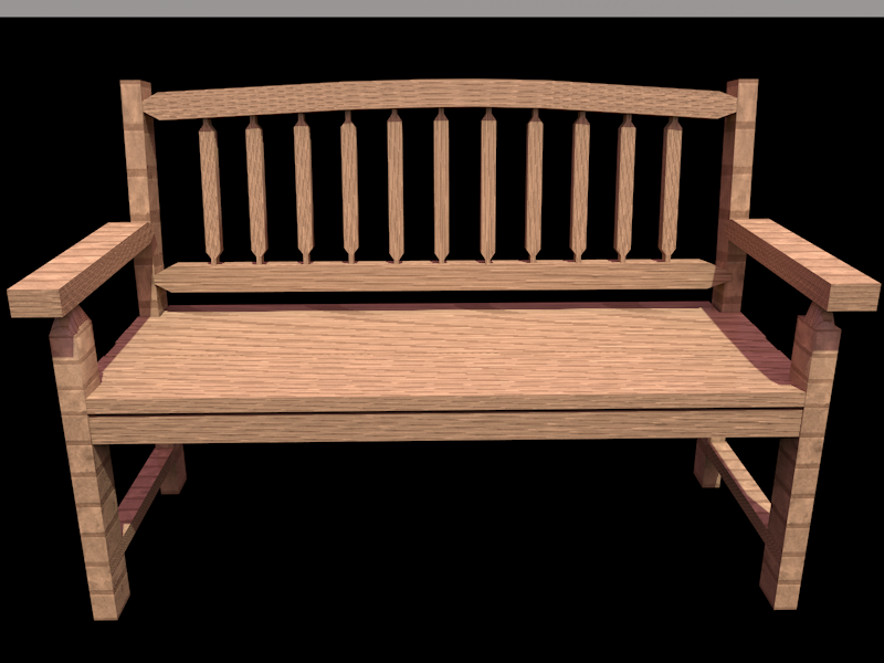 mirror lake garden bench 3d model