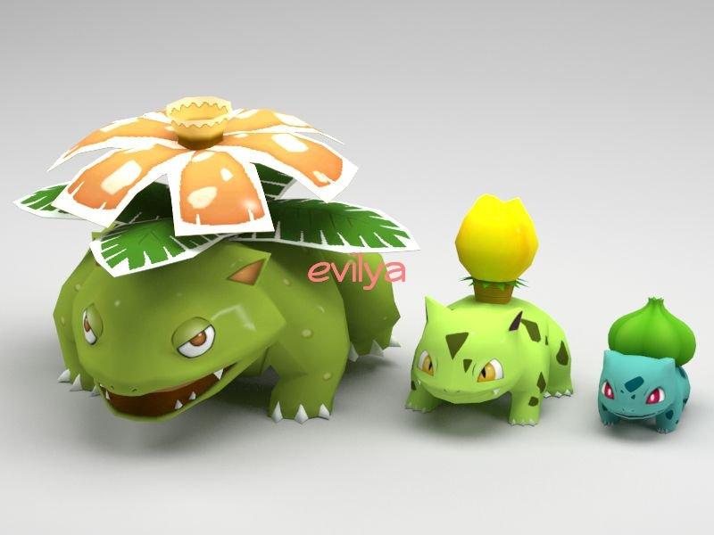 577f33289 Low Poly Pokemon Bulbasaur - Ivysaur - Venusaur 3D Model in ...