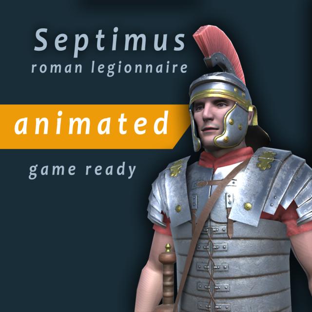 Septimus roman legionnaire animated game character 3D Model in Man 3DExport