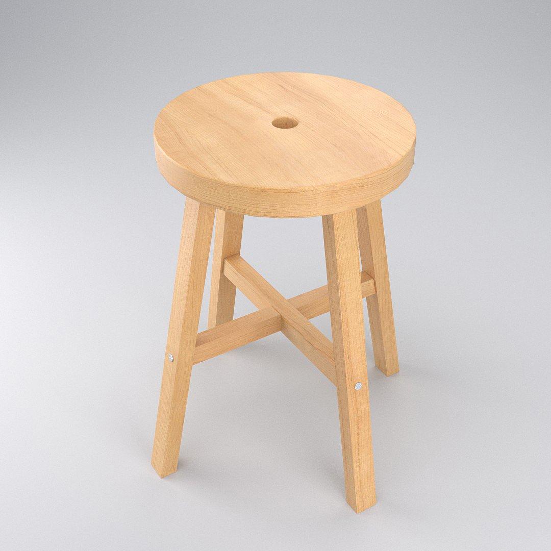 Wood Stool 3D Model in Stool 3DExport