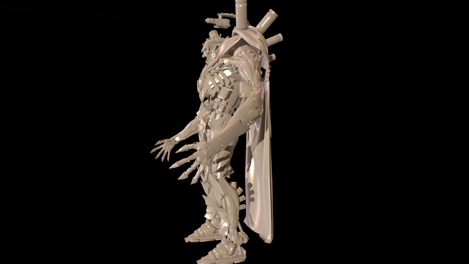 Dart necron High poly Zbrush model 3D Model in Robot 3DExport