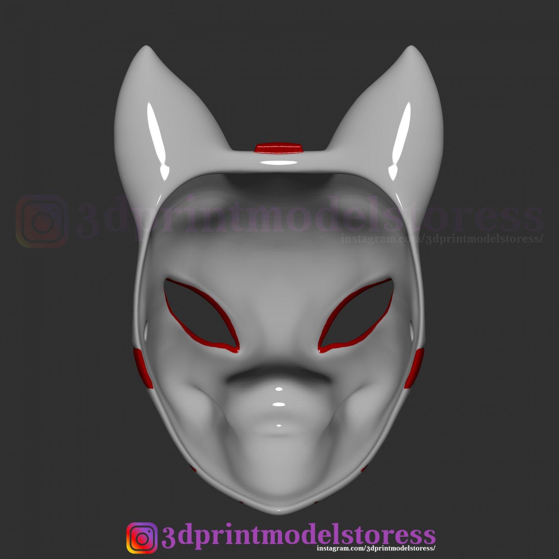 Japanese Fox Mask Demon Kitsune Costume Cosplay Helmet STL ...