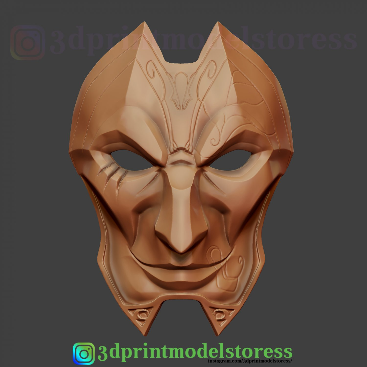 Jhin Full Mask Theatre design 3D Printed Cosplay//Display League of Legends