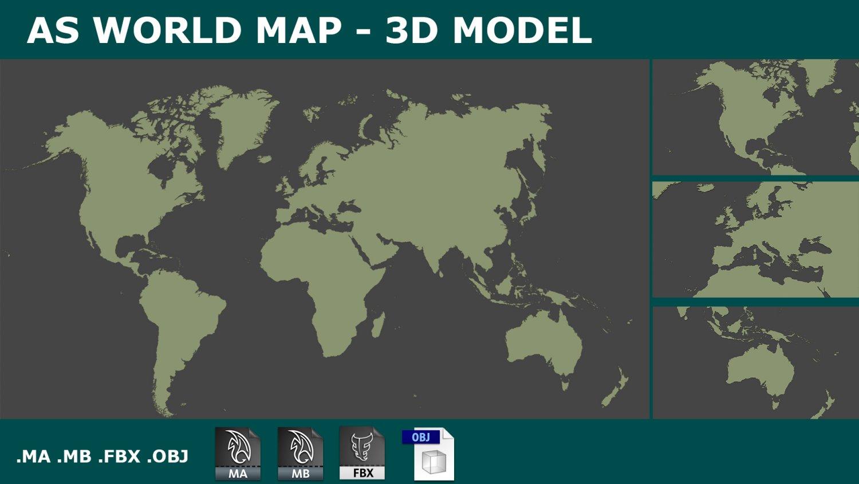 World Map 3d Model.3d Map World Planisphere 3d Model In Other 3dexport