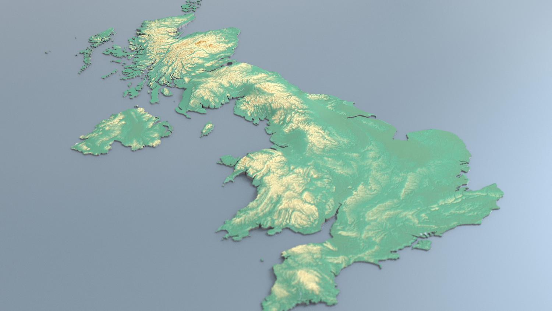 3d Relief Map Of Uk.3d Map Uk With Relief 5k 3d Model In Landscapes 3dexport