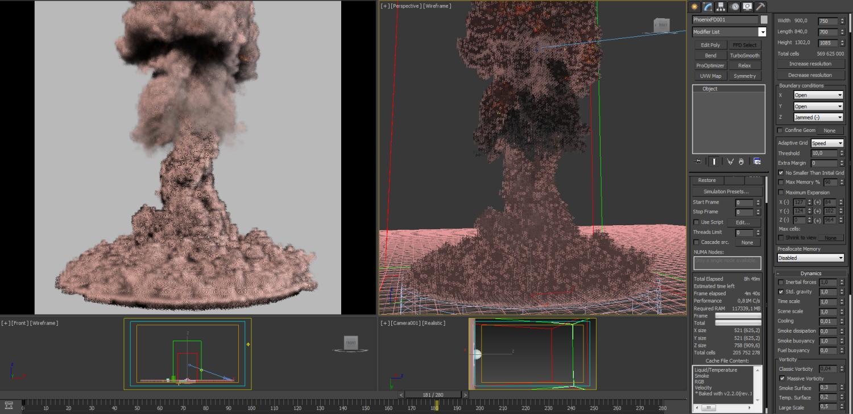 Nuclear Explosion PhoenixFD 3D Model in Projectiles 3DExport