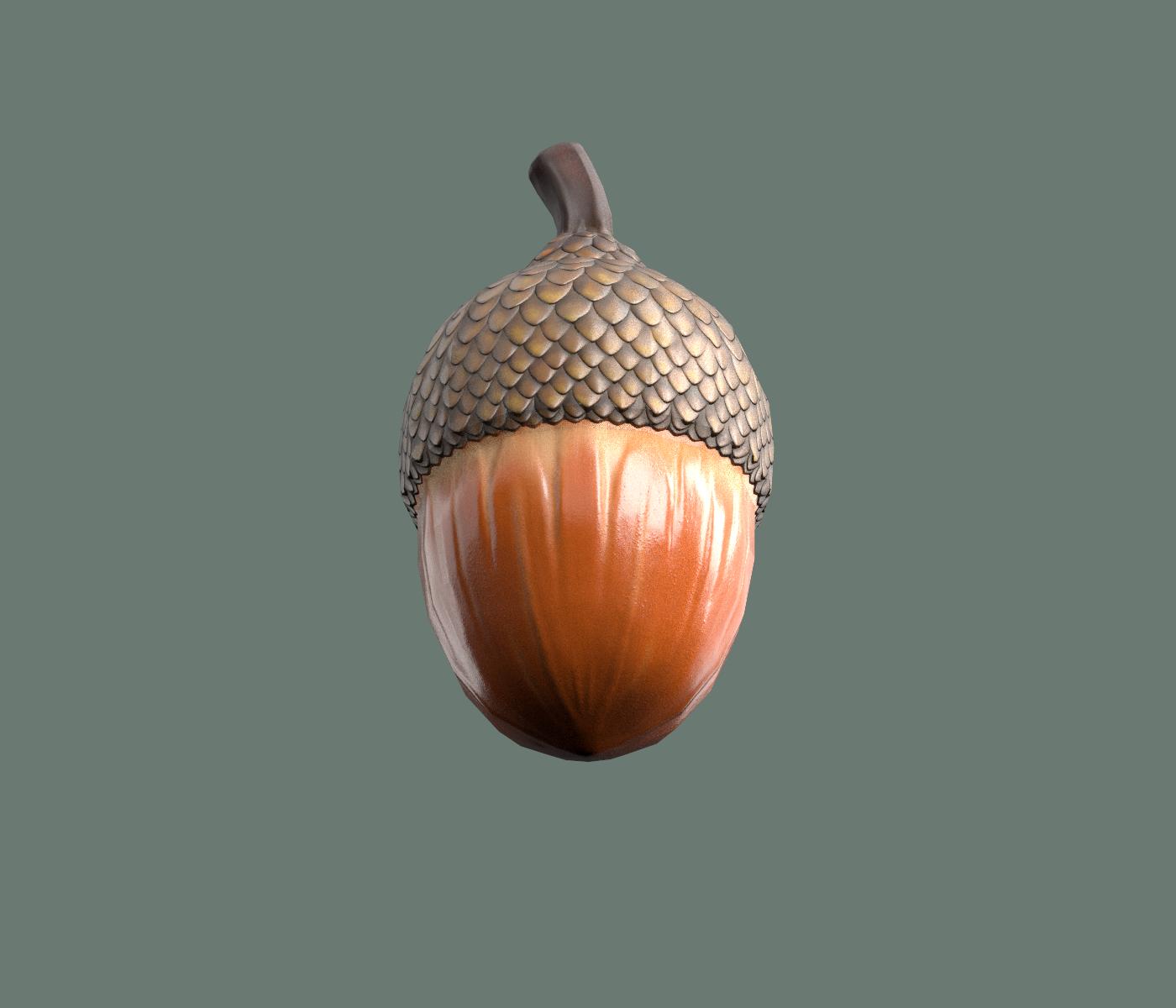 Acorn Low Poly 3D Model in Small Plants 3DExport