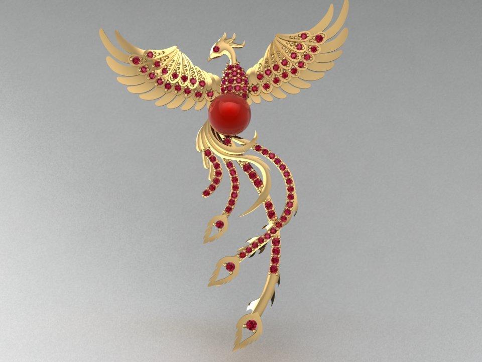 3d golden phoenix pendant 3d model in pendants 3dexport aloadofball Image collections