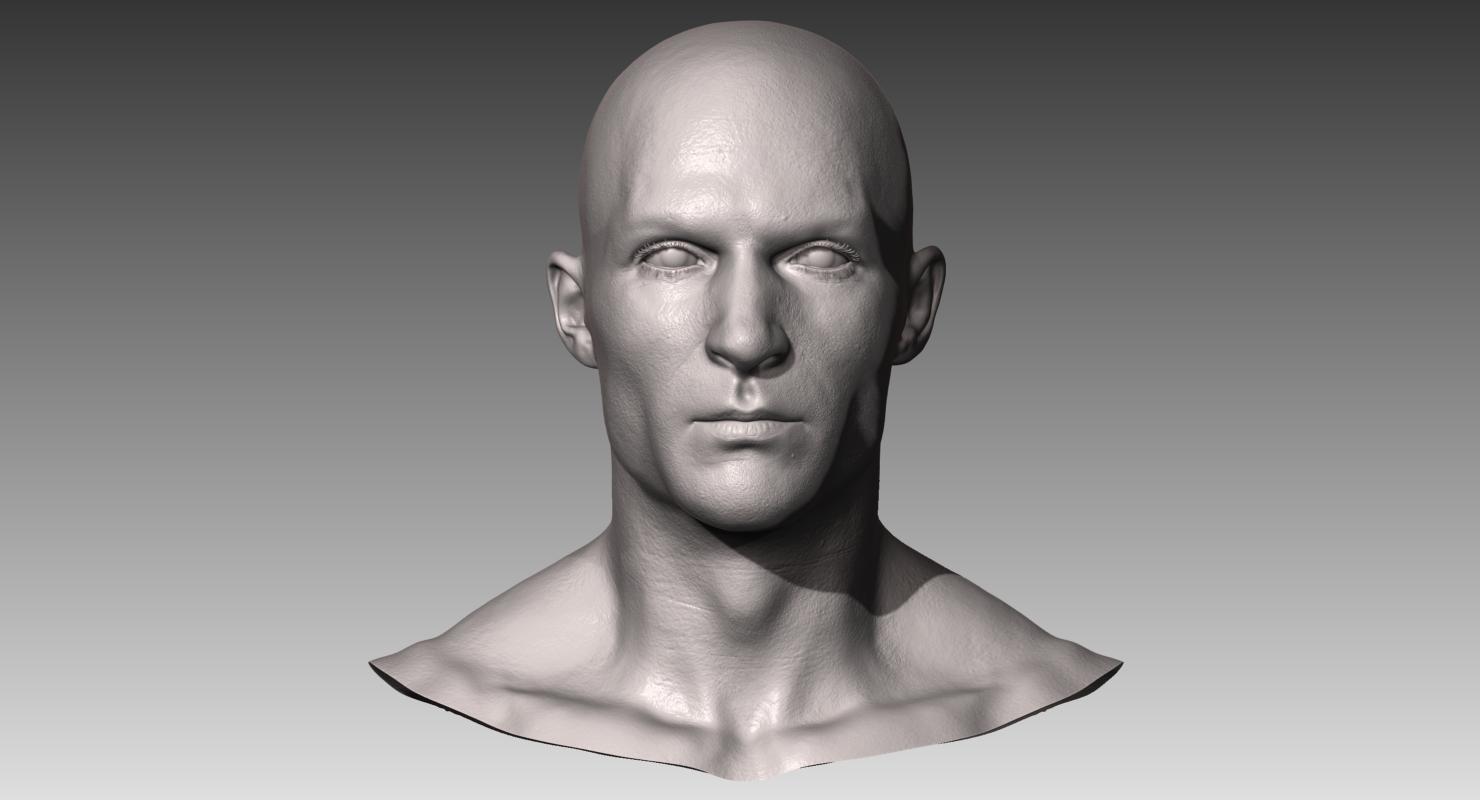 Realistic White Male Head 3D Model in Anatomy 3DExport