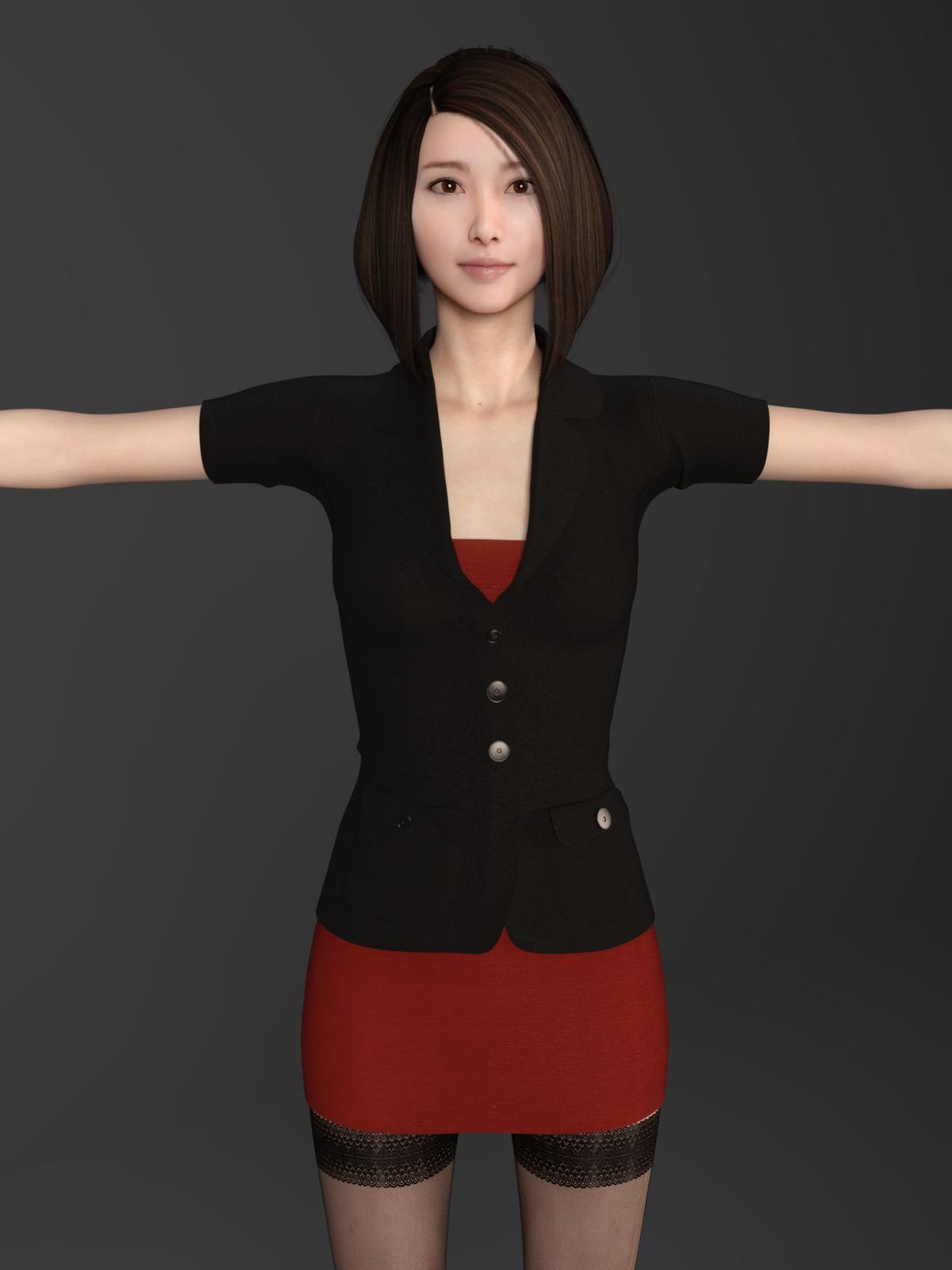 3D Asian Girl sexy asian female secretary 3d model in woman 3dexport